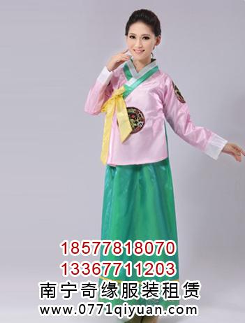 韩服朝鲜服粉绿