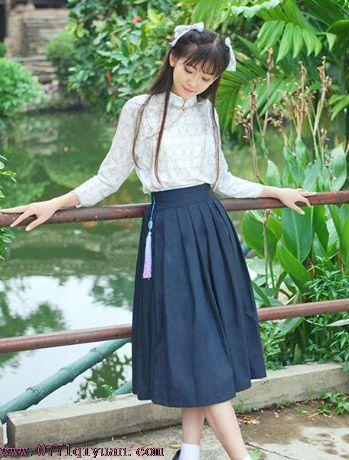 hf03民国风学生毕业改良汉服日常套装女棉麻古风装连衣裙演出班服
