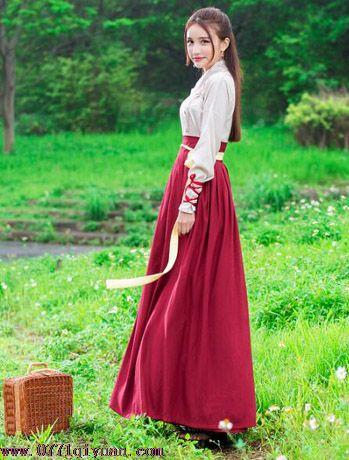 hf04改良汉服女枣红色鱼鳞交领襦裙日常中国风女装