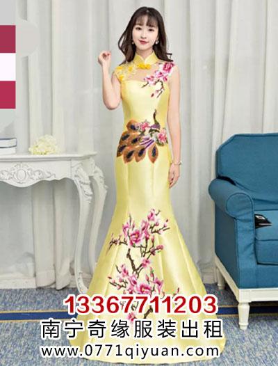黄色孔雀玉兰花旗袍礼服