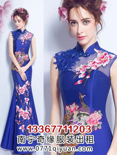宝蓝色中国风长礼服