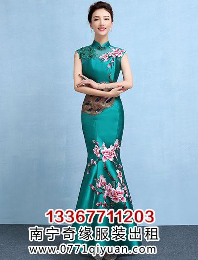 松石绿中国风礼服裙